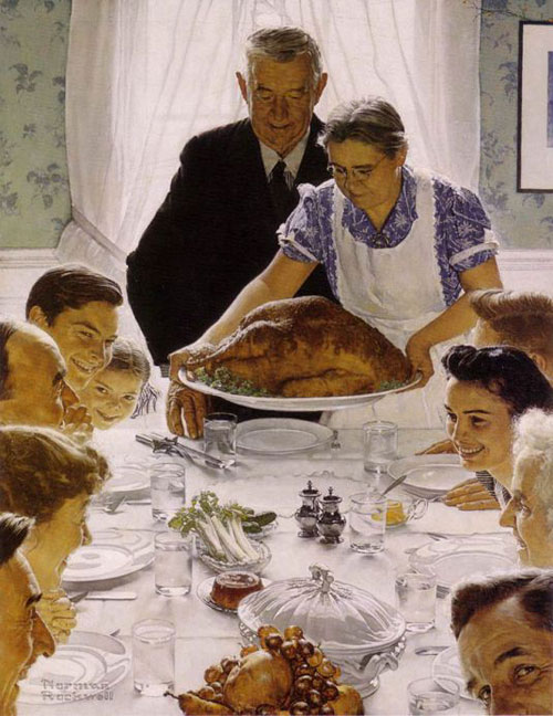 A White Thanksgiving, in Norman Rockwell tradition where celery seem not the only vegetable.